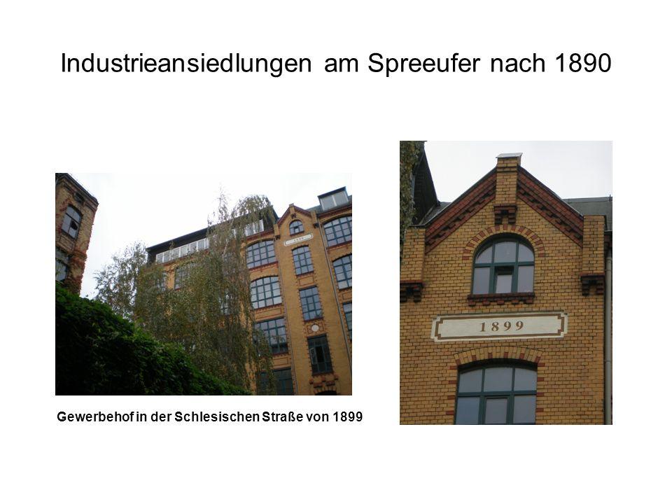 Industrieansiedlungen am Spreeufer nach 1890