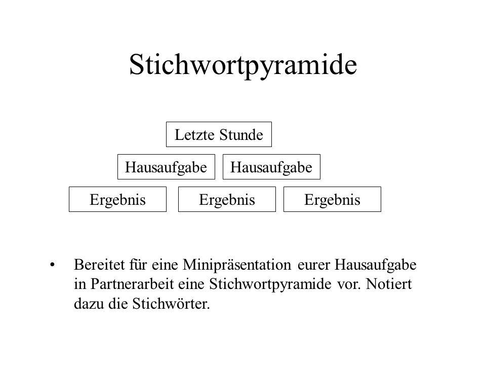 Stichwortpyramide Letzte Stunde Hausaufgabe Hausaufgabe Ergebnis