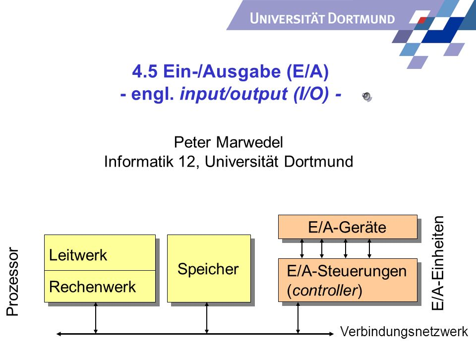 4.5 Ein-/Ausgabe (E/A) - engl. input/output (I/O) -