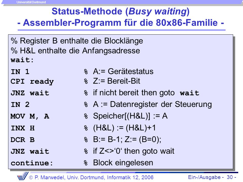 Status-Methode (Busy waiting) - Assembler-Programm für die 80x86-Familie -