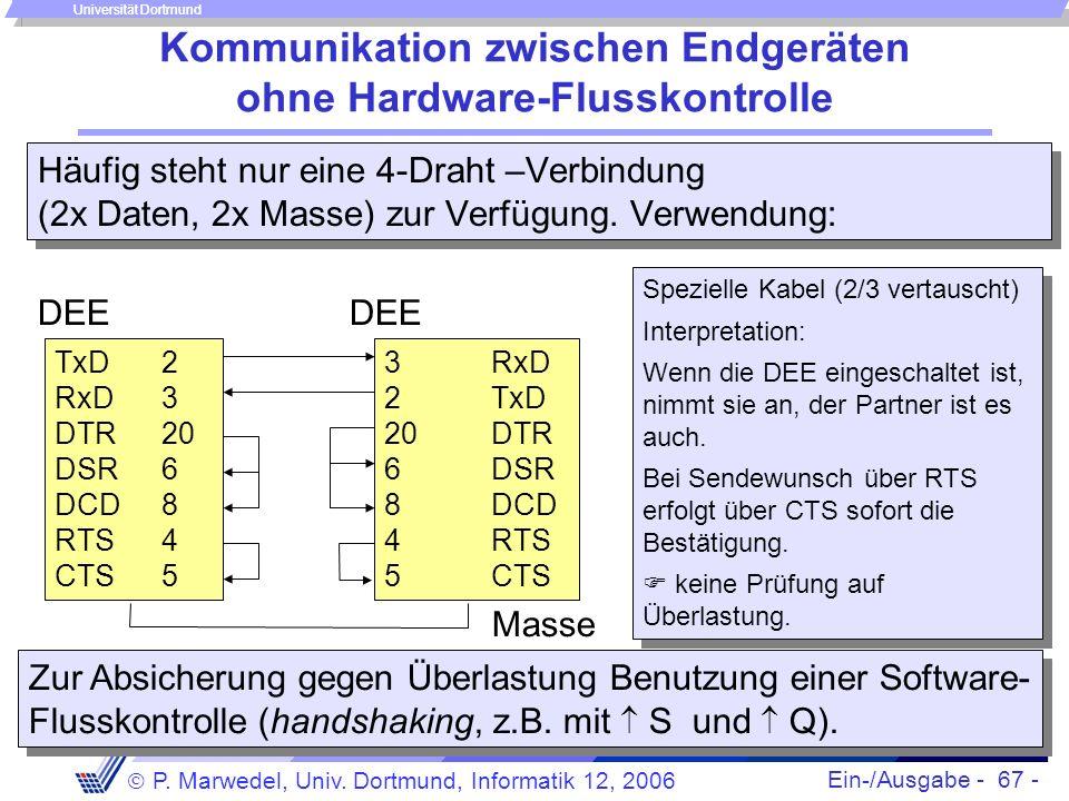 Kommunikation zwischen Endgeräten ohne Hardware-Flusskontrolle