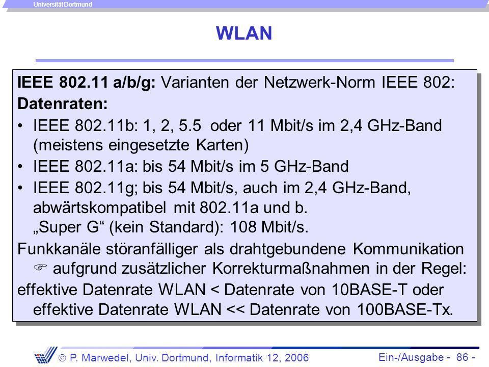 WLAN IEEE 802.11 a/b/g: Varianten der Netzwerk-Norm IEEE 802: