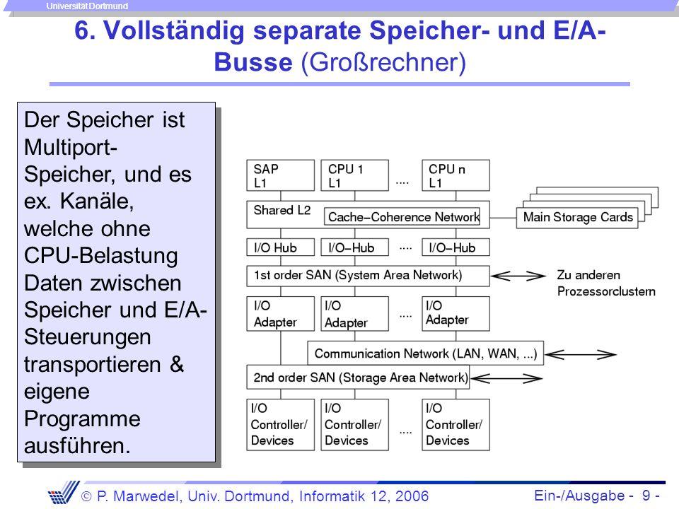 6. Vollständig separate Speicher- und E/A-Busse (Großrechner)