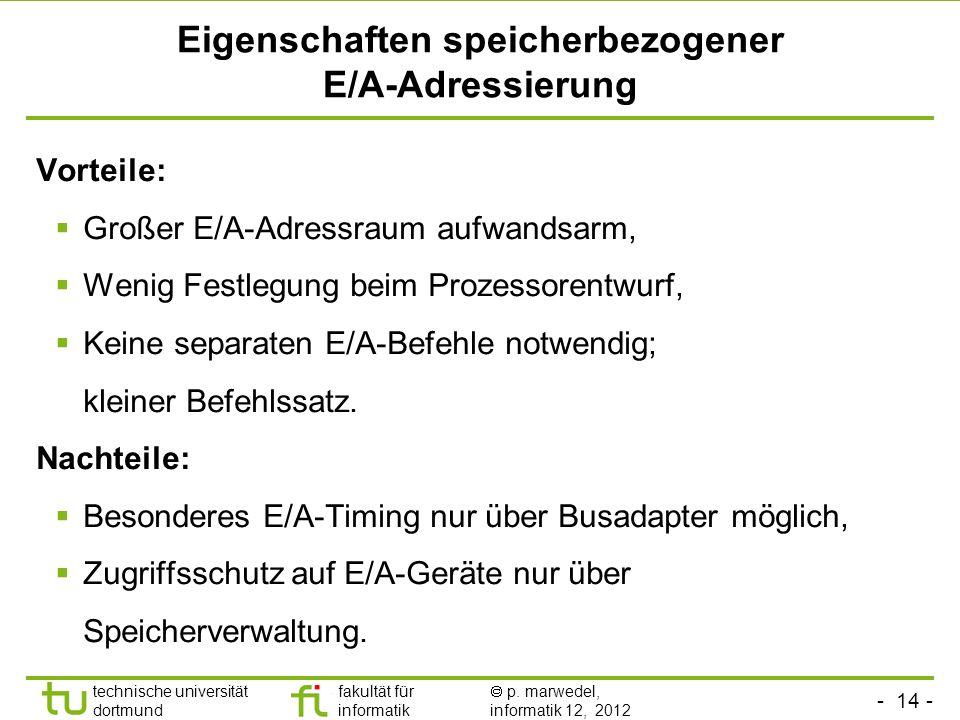 Eigenschaften speicherbezogener E/A-Adressierung