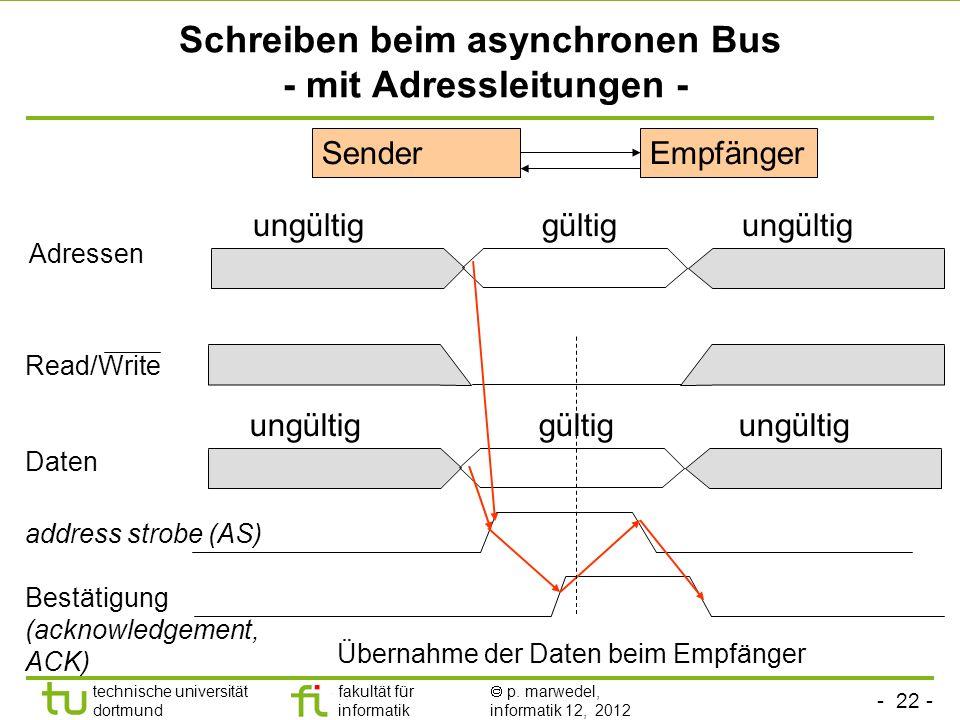 Schreiben beim asynchronen Bus - mit Adressleitungen -