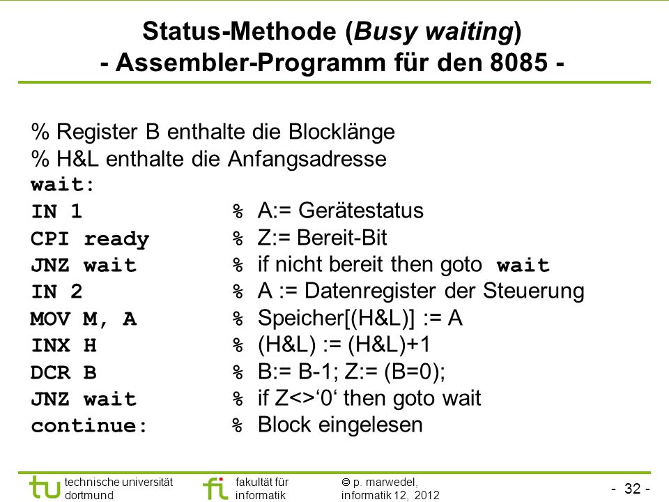 Status-Methode (Busy waiting) - Assembler-Programm für den