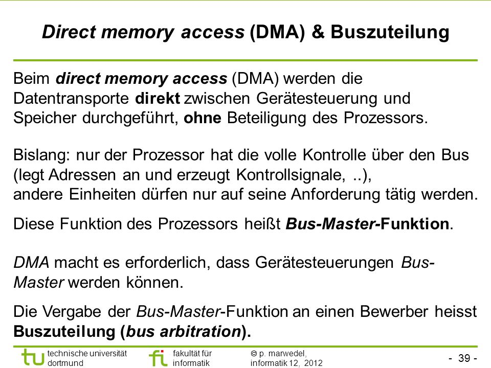 Direct memory access (DMA) & Buszuteilung
