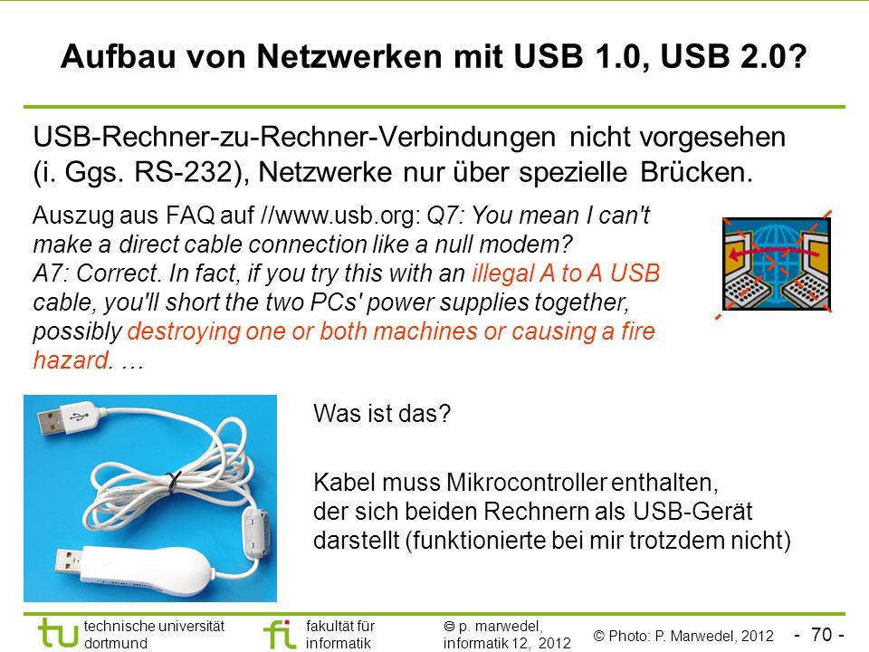 Aufbau von Netzwerken mit USB 1.0, USB 2.0