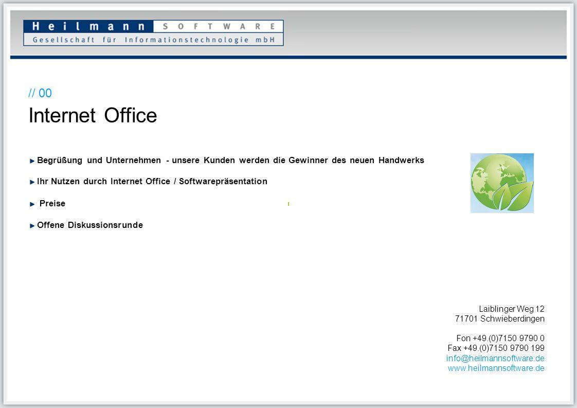 // 00Internet Office. Begrüßung und Unternehmen - unsere Kunden werden die Gewinner des neuen Handwerks.
