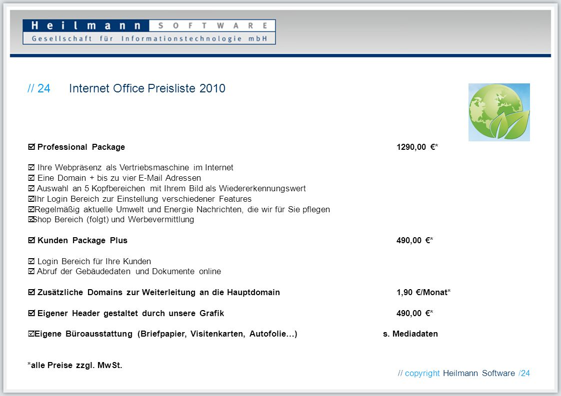 Internet Office Preisliste 2010