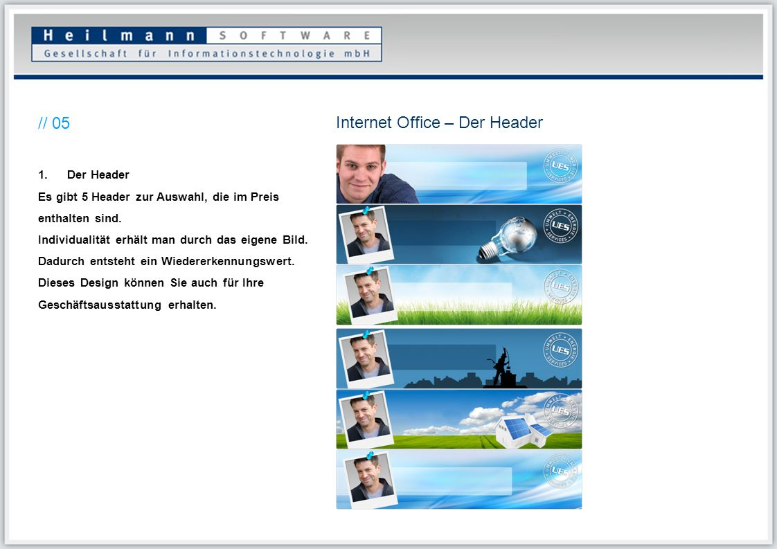Internet Office – Der Header