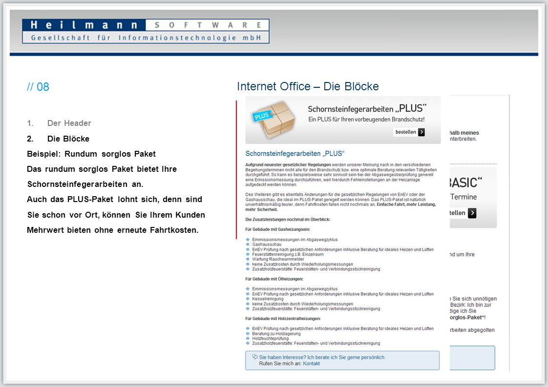 Internet Office – Die Blöcke