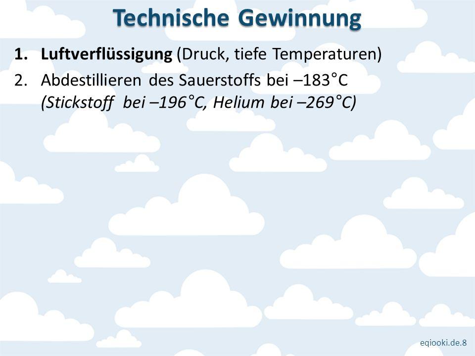 Technische Gewinnung Luftverflüssigung (Druck, tiefe Temperaturen)