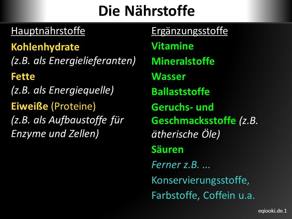 Die Nährstoffe Hauptnährstoffe