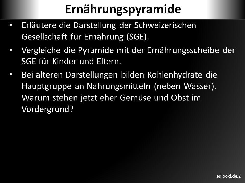 Ernährungspyramide Erläutere die Darstellung der Schweizerischen Gesellschaft für Ernährung (SGE).