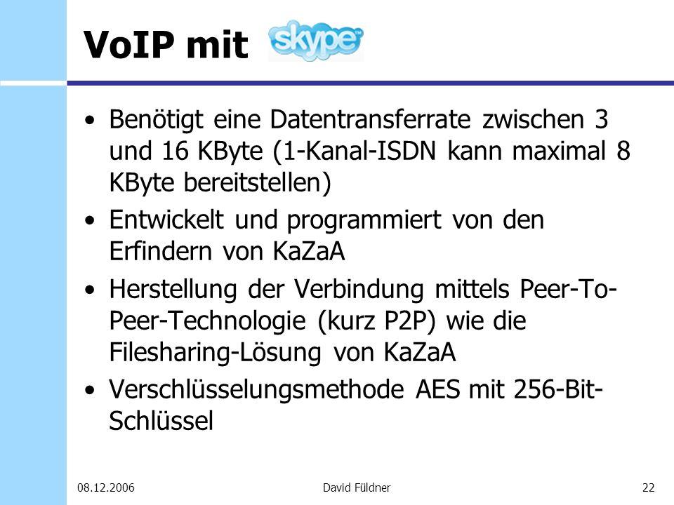 VoIP mit Benötigt eine Datentransferrate zwischen 3 und 16 KByte (1-Kanal-ISDN kann maximal 8 KByte bereitstellen)
