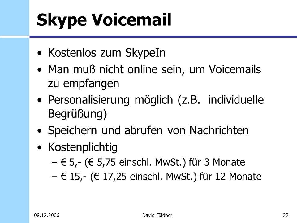 Skype Voicemail Kostenlos zum SkypeIn