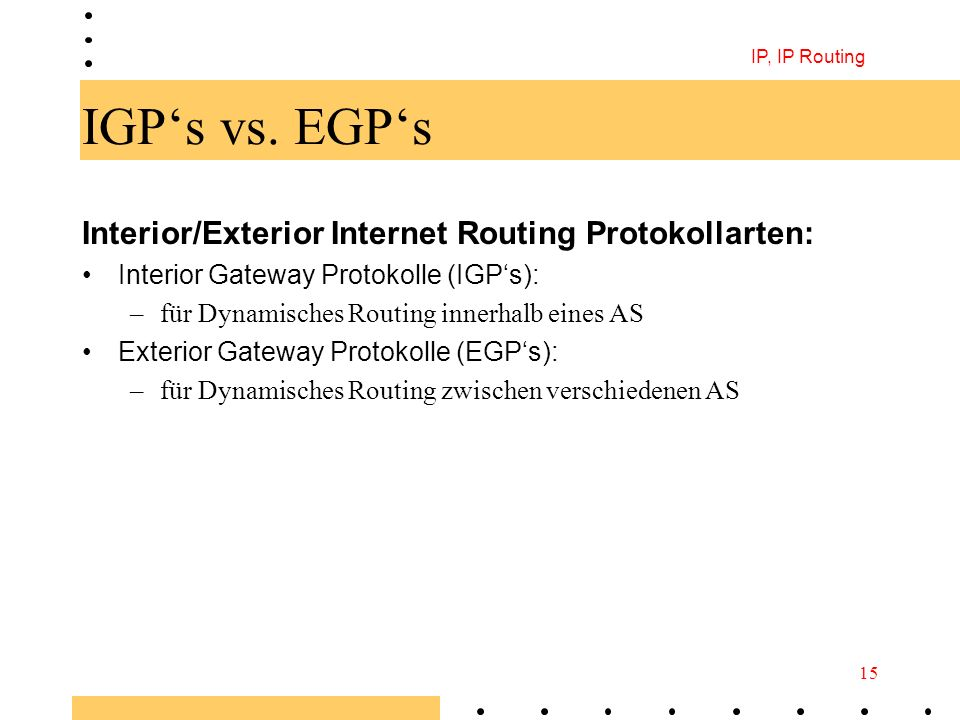 IGP's vs. EGP's Interior/Exterior Internet Routing Protokollarten: