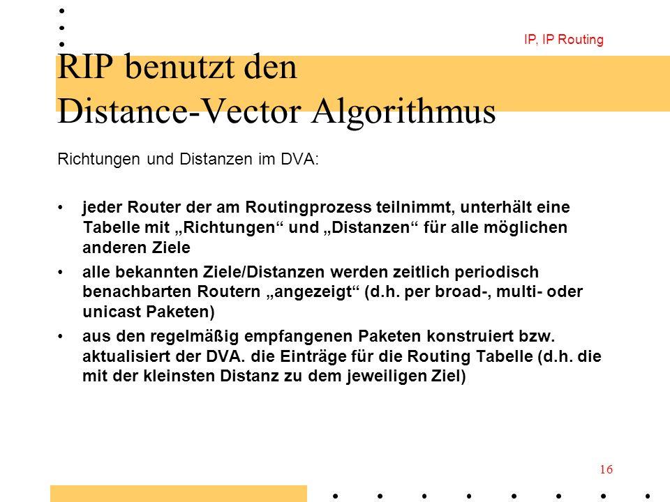 RIP benutzt den Distance-Vector Algorithmus