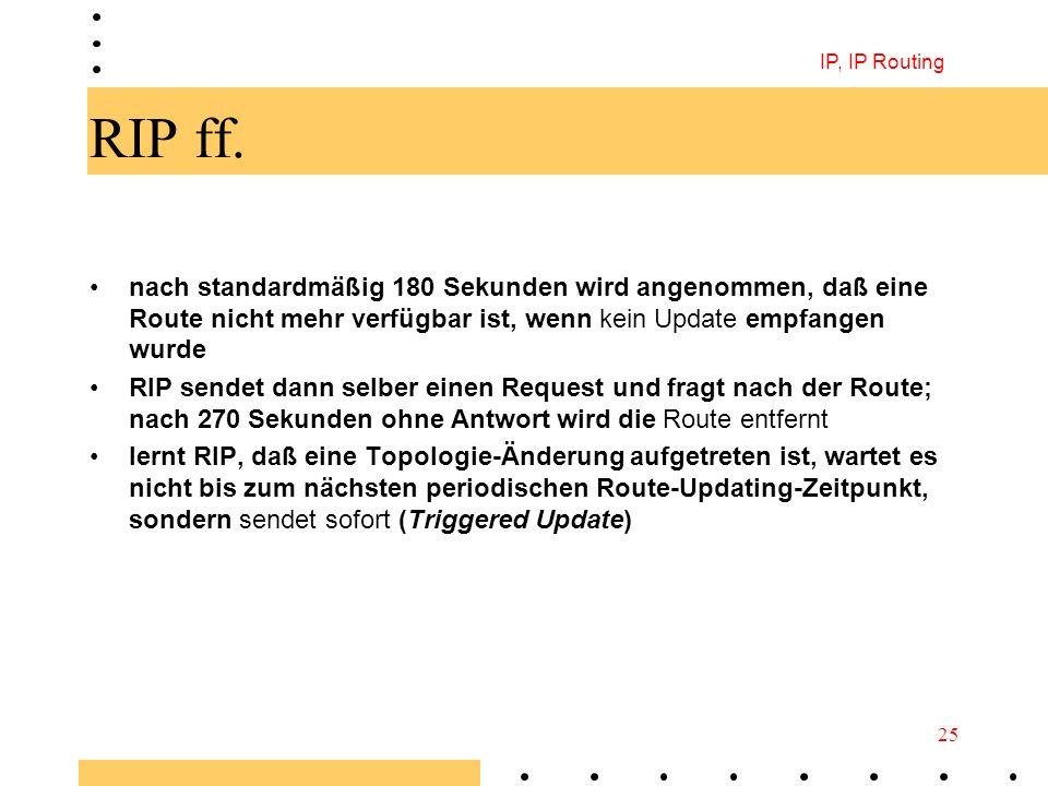 IP, IP Routing RIP ff. nach standardmäßig 180 Sekunden wird angenommen, daß eine Route nicht mehr verfügbar ist, wenn kein Update empfangen wurde.