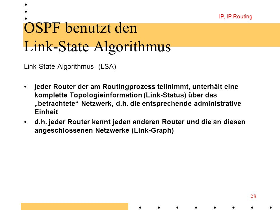 OSPF benutzt den Link-State Algorithmus