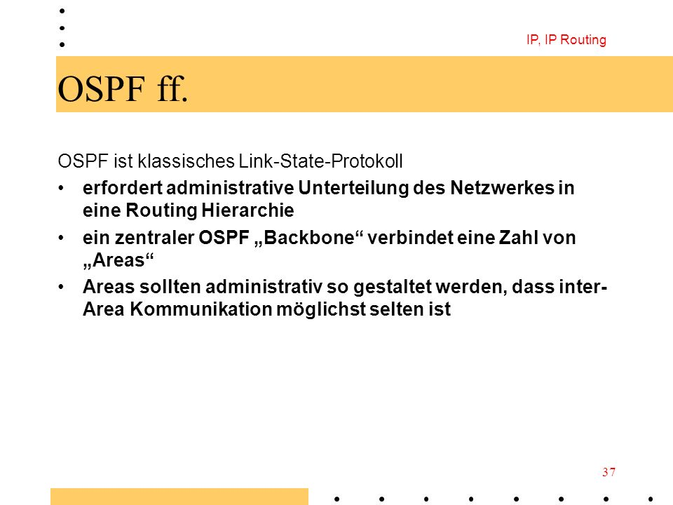 OSPF ff. OSPF ist klassisches Link-State-Protokoll