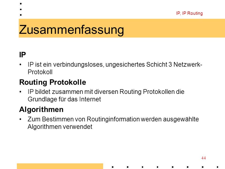 Zusammenfassung IP Routing Protokolle Algorithmen