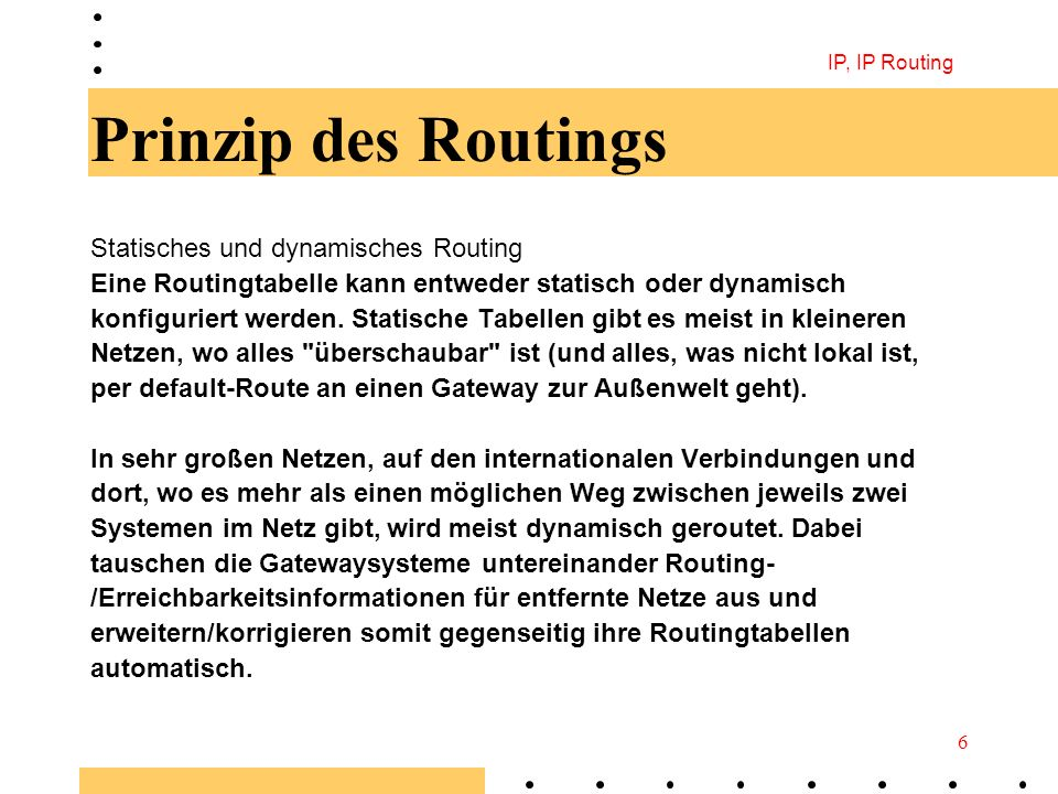 Prinzip des Routings Statisches und dynamisches Routing
