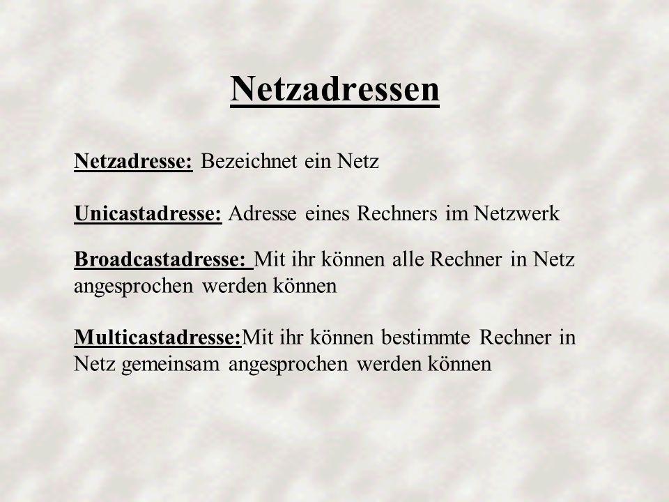 Netzadressen Netzadresse: Bezeichnet ein Netz
