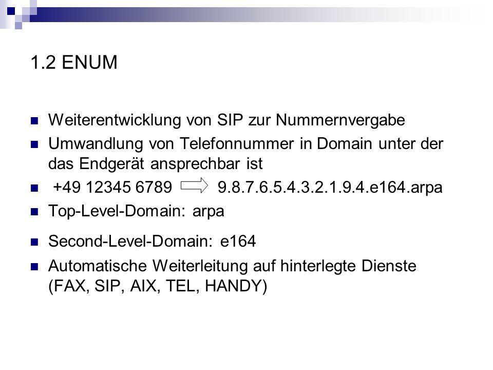 1.2 ENUM Weiterentwicklung von SIP zur Nummernvergabe