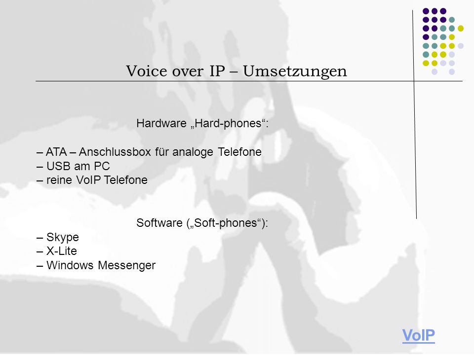 Voice over IP – Umsetzungen