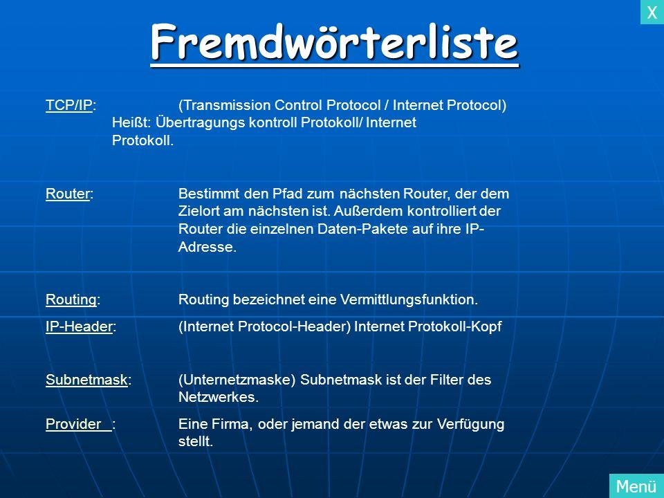FremdwörterlisteTCP/IP: (Transmission Control Protocol / Internet Protocol) Heißt: Übertragungs kontroll Protokoll/ Internet Protokoll.