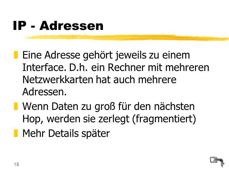 IP - Adressen Eine Adresse gehört jeweils zu einem Interface. D.h. ein Rechner mit mehreren Netzwerkkarten hat auch mehrere Adressen.