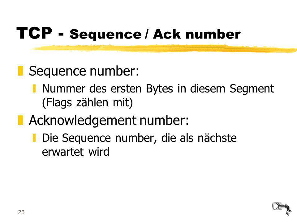 TCP - Sequence / Ack number