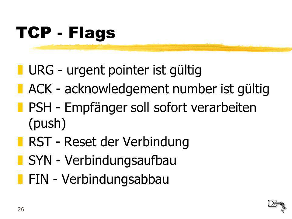 TCP - Flags URG - urgent pointer ist gültig