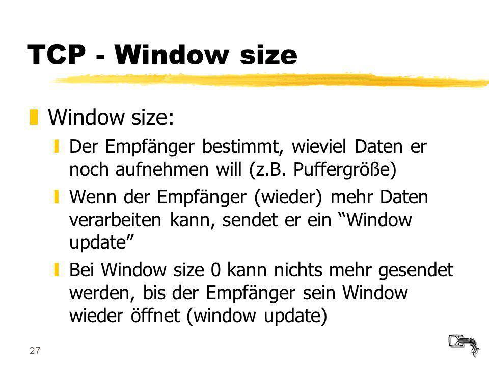 TCP - Window size Window size: