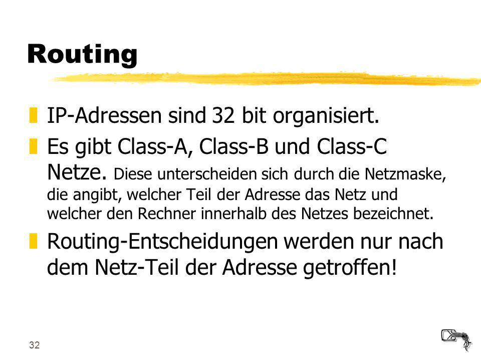 Routing IP-Adressen sind 32 bit organisiert.