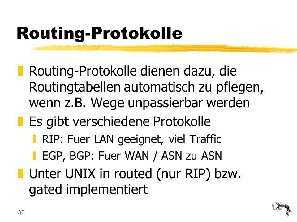 Routing-Protokolle Routing-Protokolle dienen dazu, die Routingtabellen automatisch zu pflegen, wenn z.B. Wege unpassierbar werden.