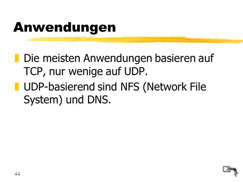 Anwendungen Die meisten Anwendungen basieren auf TCP, nur wenige auf UDP.