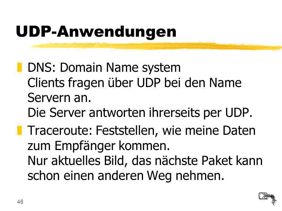 UDP-Anwendungen DNS: Domain Name system Clients fragen über UDP bei den Name Servern an. Die Server antworten ihrerseits per UDP.