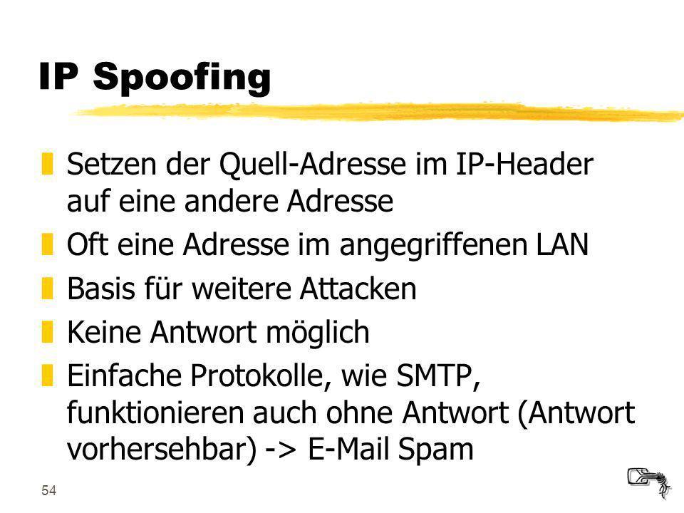 IP Spoofing Setzen der Quell-Adresse im IP-Header auf eine andere Adresse. Oft eine Adresse im angegriffenen LAN.