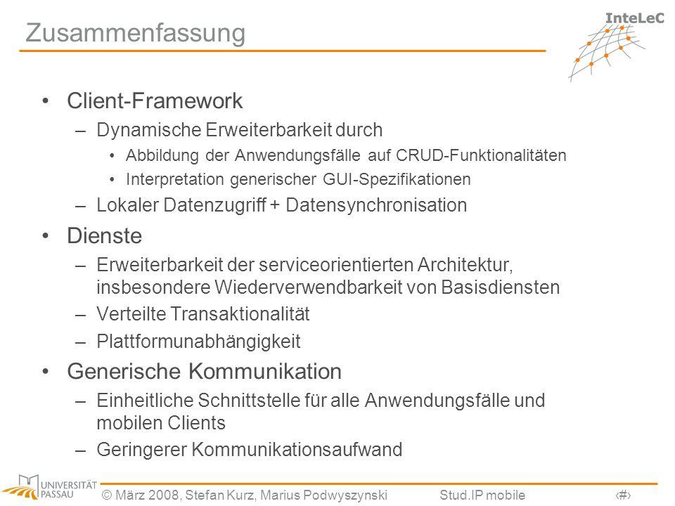 Zusammenfassung Client-Framework Dienste Generische Kommunikation