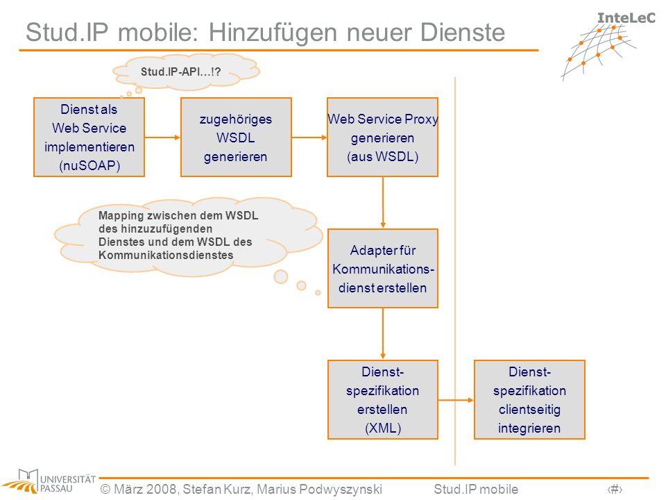 Stud.IP mobile: Hinzufügen neuer Dienste
