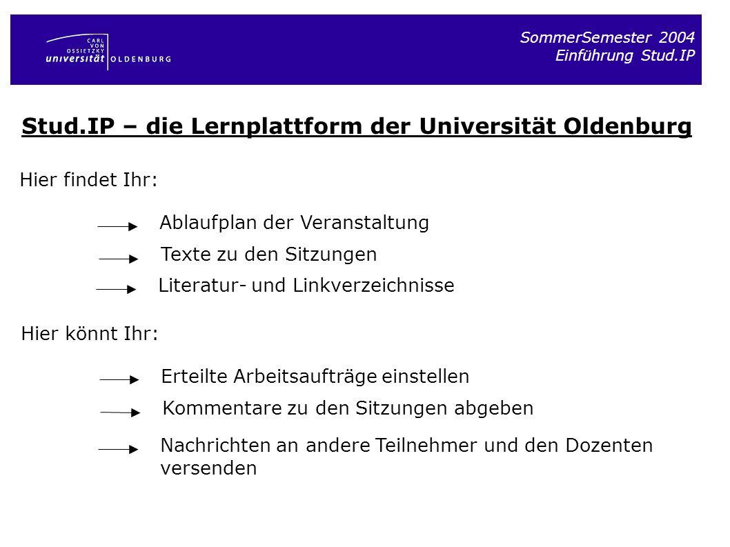Stud.IP – die Lernplattform der Universität Oldenburg
