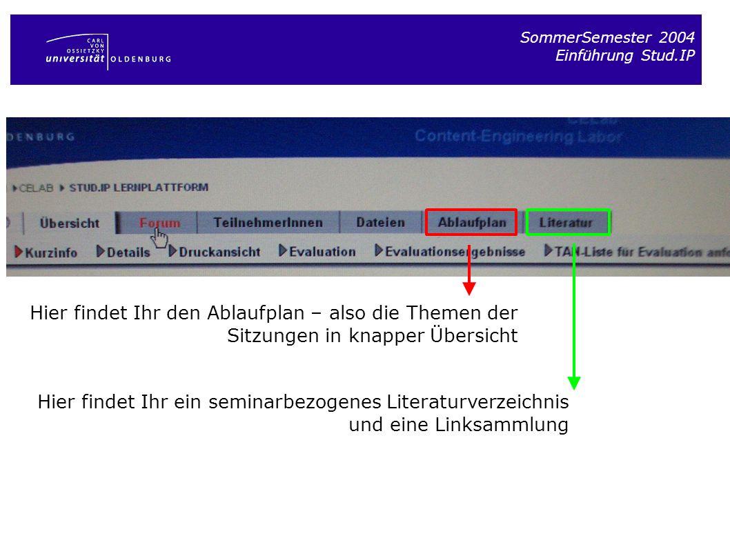 SommerSemester 2004 Einführung Stud.IP. Hier findet Ihr den Ablaufplan – also die Themen der Sitzungen in knapper Übersicht.