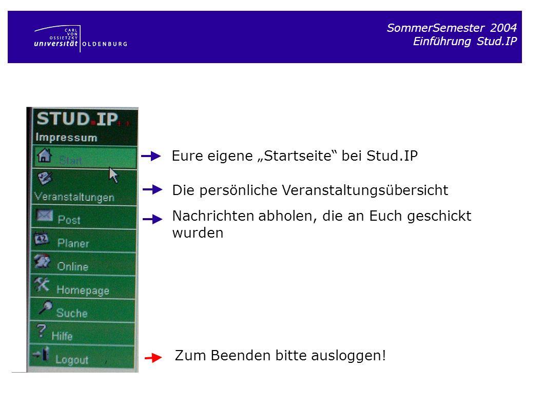 "Eure eigene ""Startseite bei Stud.IP"