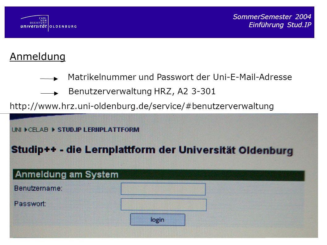 Anmeldung Matrikelnummer und Passwort der Uni-E-Mail-Adresse