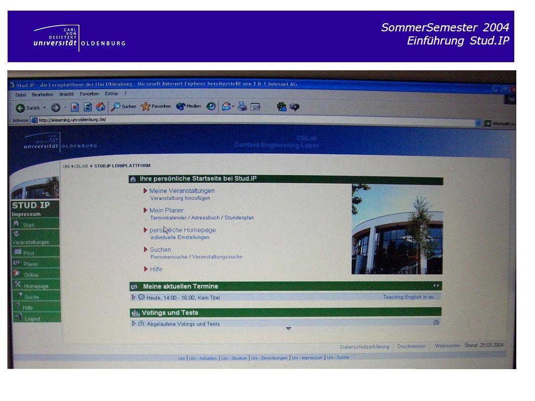 SommerSemester 2004 Einführung Stud.IP