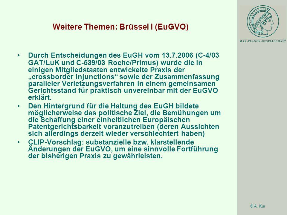 Weitere Themen: Brüssel I (EuGVO)
