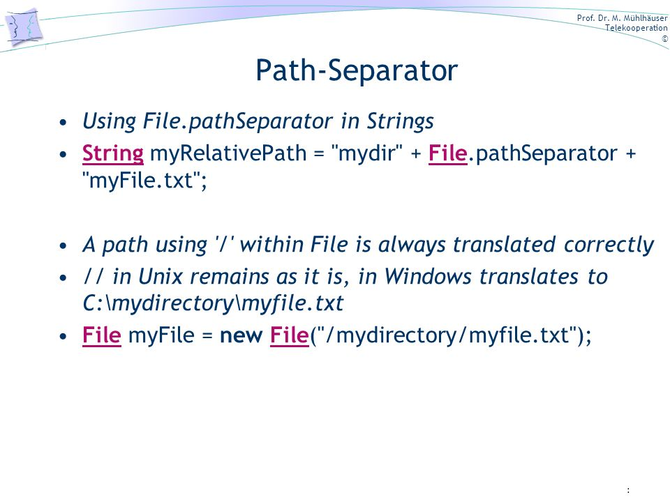 Path-Separator Using File.pathSeparator in Strings